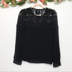 Lulu's Picture this Black LS Lace Top sz M
